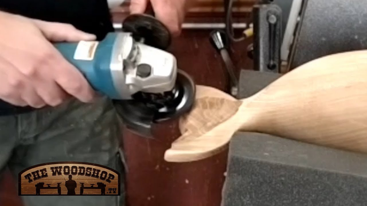 Woodcarving maple whale carving with the arbortech turbo plane