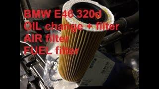 BMW E46 320d OIL change + AIR and FUEL filters M47N Замена масла + фильтры воздухa и топливa