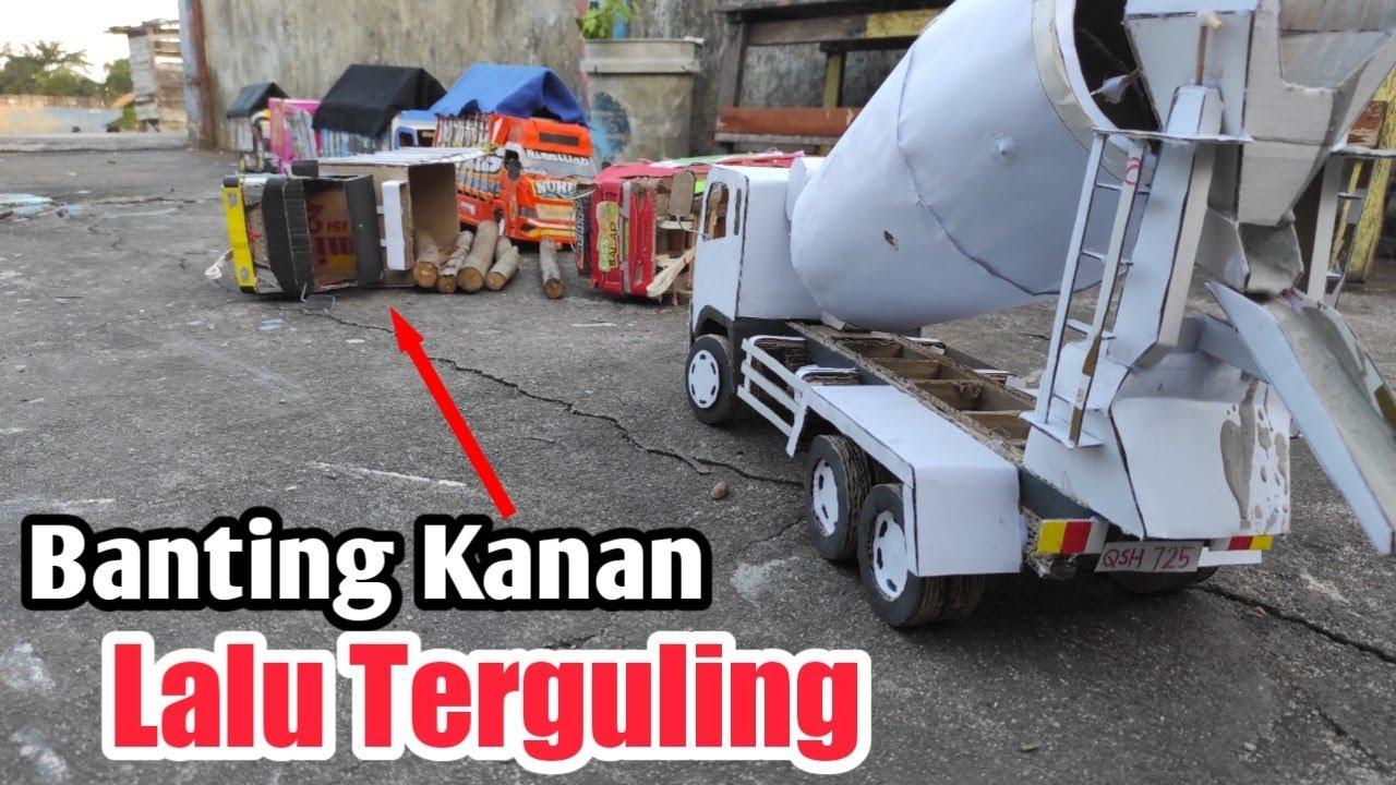 Truk Muat Kayu Terguling Karna gak Sabaran cerita versi miniatur truk kardus