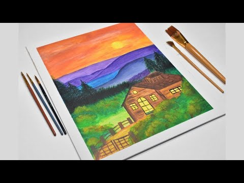 Beautiful Mountain Landscape with Acrylics / Mountain and Cabin painting