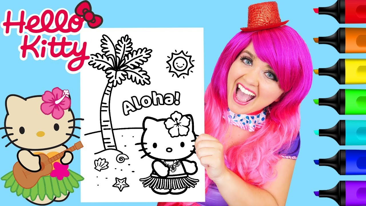 Coloring hello kitty hawaii hula dance coloring page prismacolor markers kimmi the clown