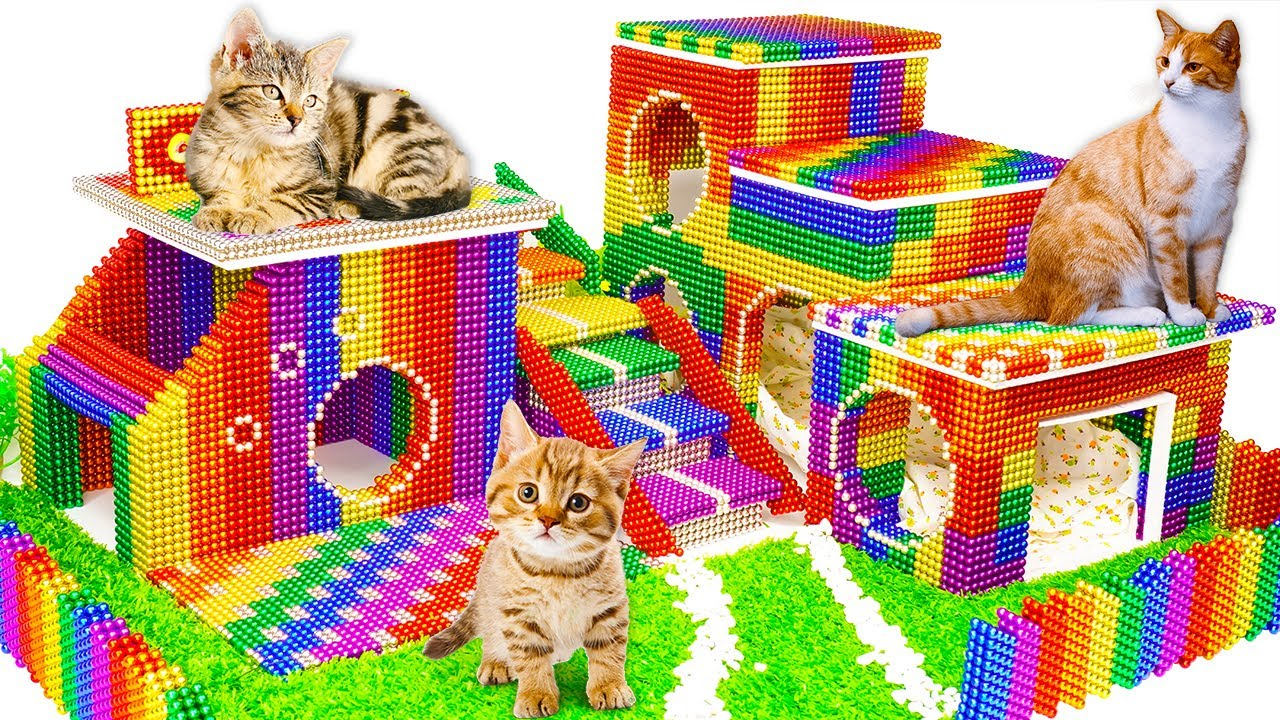 DIY - How To Make Amazing Kitten Cat House From Magnetic Balls (Satisfying) - Magnet Balls