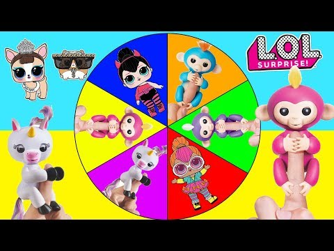 Fingerlings Game with LOL Surprise Pets Real vs Fake Spin the Wheel | Ellie Sparkles