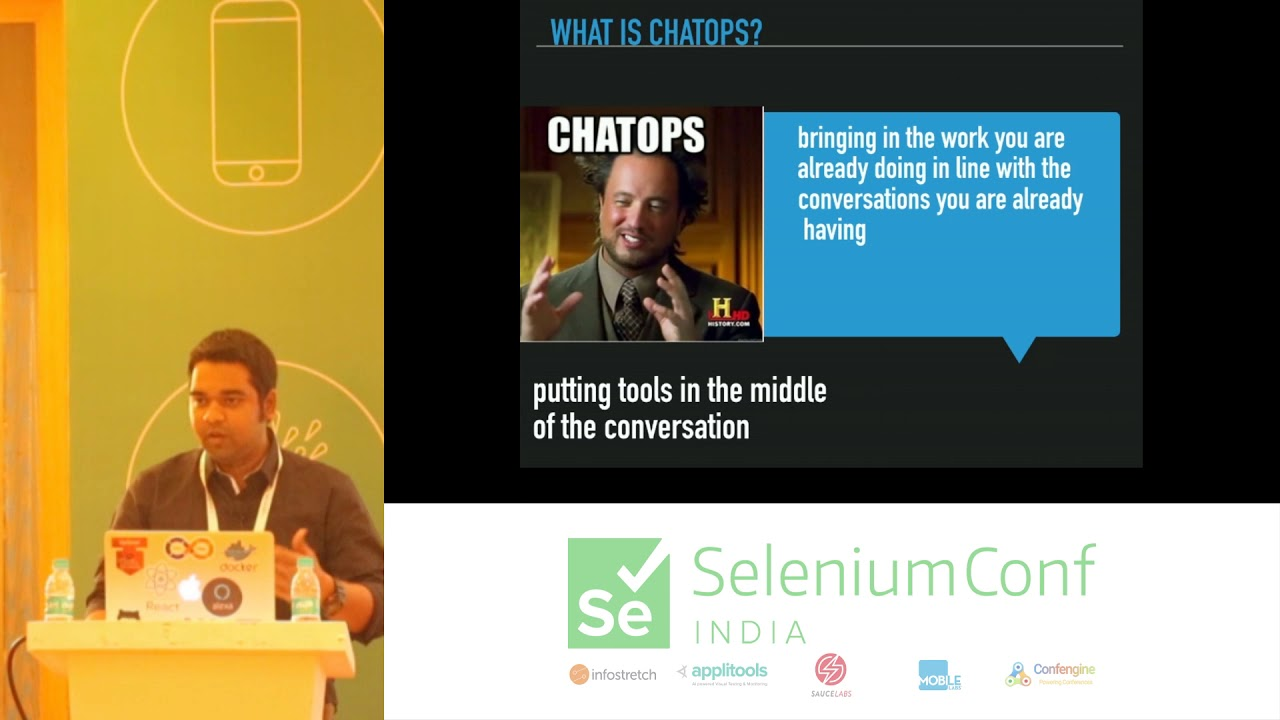 Selenium Conf 2018 - Testing as a Chat : Test anything , from