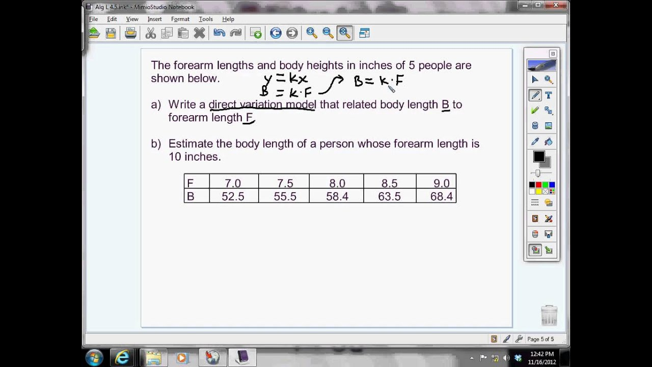 Writing And Interpreting A Direct Variation Direct