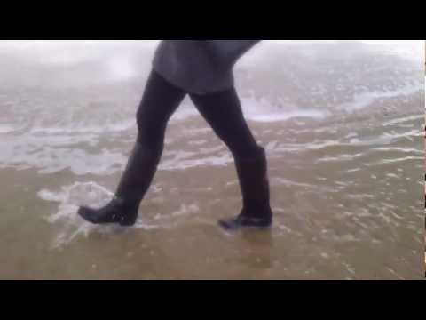 wet  rubber rain boots