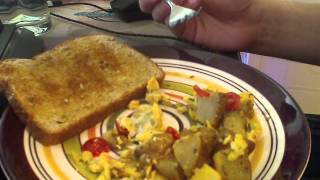 Asmr - Eating Scrambled Eggs, Potatoes And Tomatoes W/ Toast