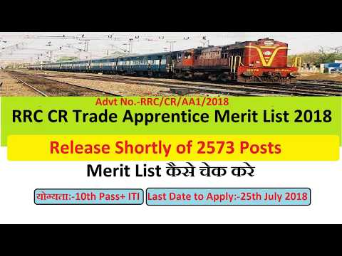 RRC CR Trade Apprentice Merit List 2018 Release Shortly of 2573 Posts