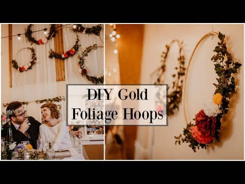 DIY Wedding: How to make gold foliage hoops with tissue paper flowers