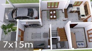 Interior Design Plan 7x15m Walk Through with Full Plan 4Beds