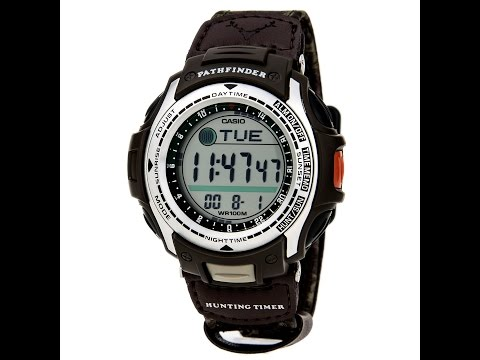 Casio PAS410B-5 Men's Pathfinder Hunting Timer Moon Phase Watch Review Video
