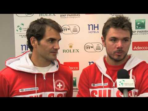 Roger Federer (SUI) and Stanislas Wawrinka (SUI) after the doubles