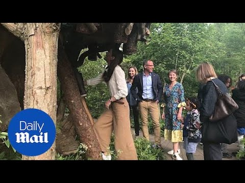 Local school children climb up tree house with Kate at her garden