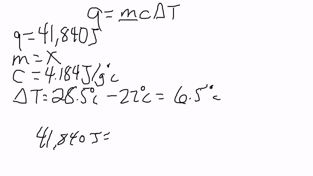 Specific Heat Solving For The Mass Using The Specific Heat Formula