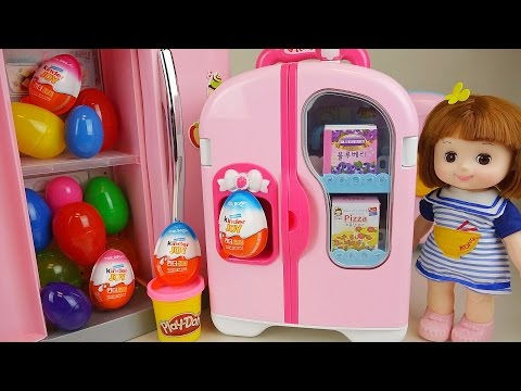 Thumbnail: Baby Doll Refrigerator and Kinder Joy Play Doh Surprise eggs