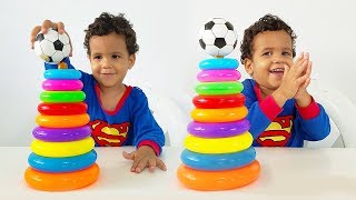 Learn colors with little kid stacking colored ring toy⚽ - Educational video