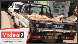 بالفيديو.. جريمة صحية متكاملة الأركان.. نقل اللحوم بسيارات نصف نقل مكشوفة بشوارع غمرة