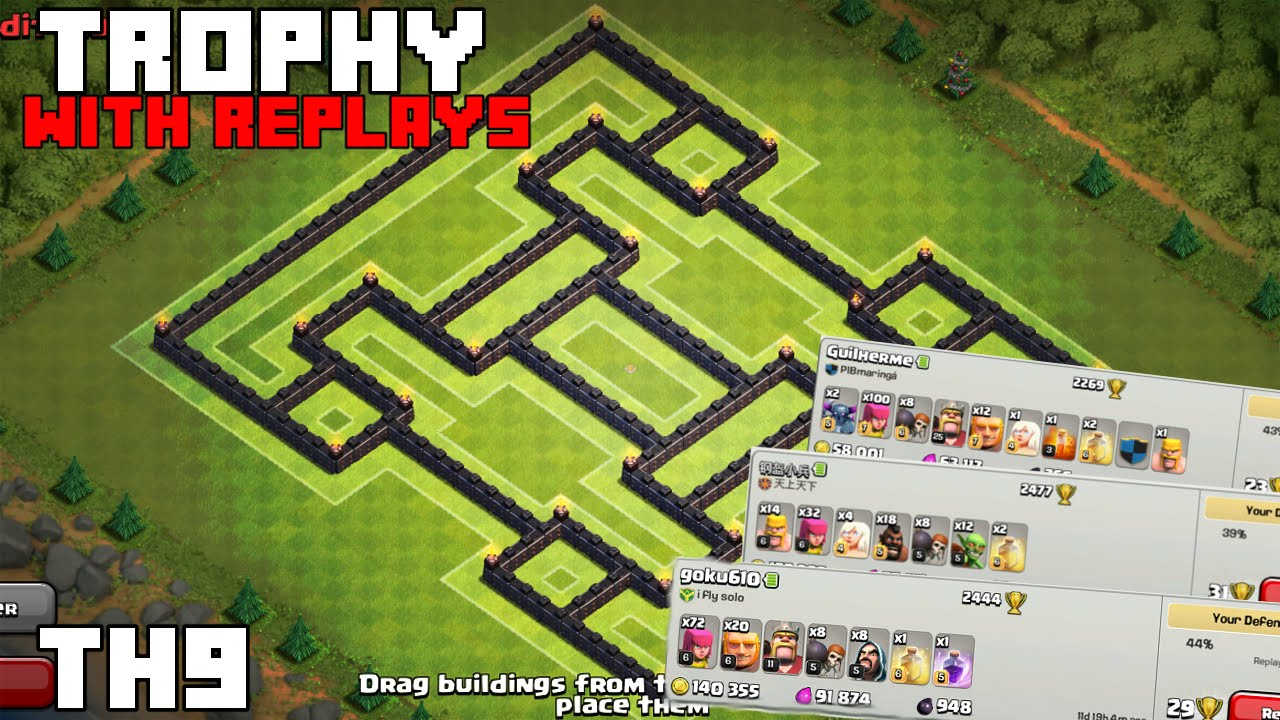 Clash of clans best th9 trophy troll base i ve made 2015