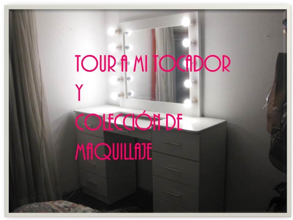 Coleccion de maquillaje tour tocador con luces vanity tour makeup collection youtube - Tocador con espejo y luces ...