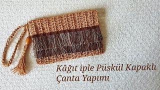 Kağıt iple Püskül Kapaklı Clutch Çanta/Portföy Çanta