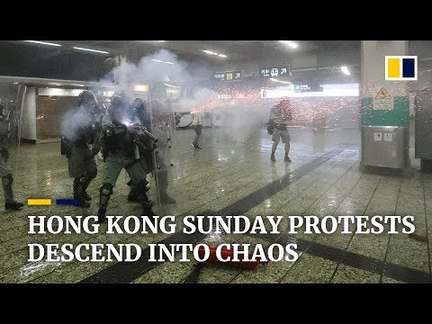 Hong Kong Sunday protests descend into chaos