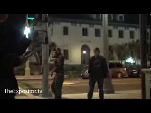 Satanists impeding & heckling open-air preacher in Downtown Riverside (Rated R)