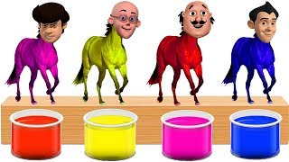 Bathing Colors Fun l Motu Patlu Gattu Battu Heads Horse l Colors for Children to Learn with Motu
