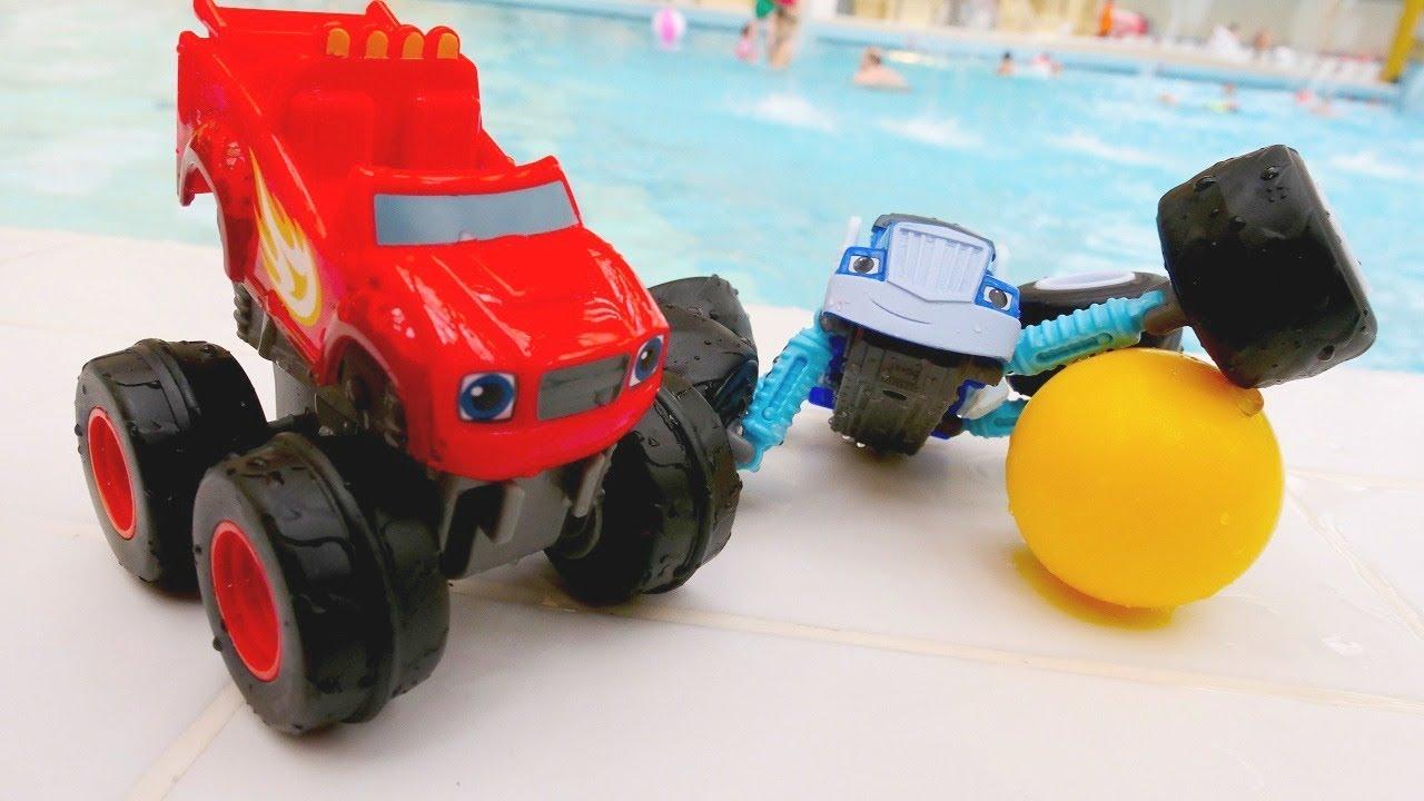 blaze e le mega macchine nel parco acquatico giochi per
