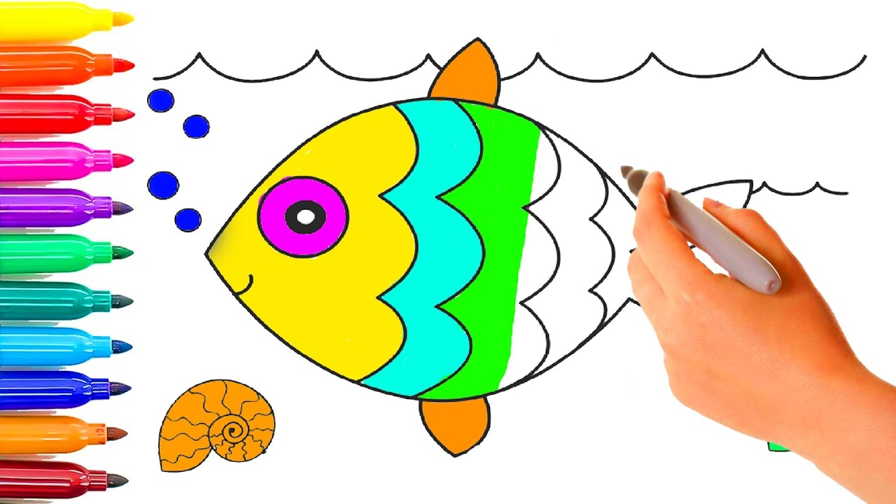 clown fish coloring simple drawing for children colouring videos for kids