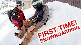 First Time Snowboarding... GONE WRONG! (Ski Patrol Called)