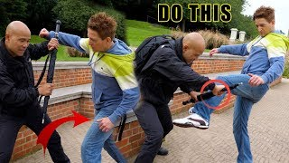 How to defence kick and punch with weapon