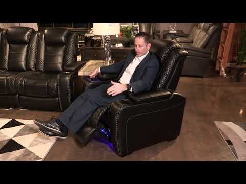 Party Time Midnight Power Recliner With Adjustable Headrest From Ashley