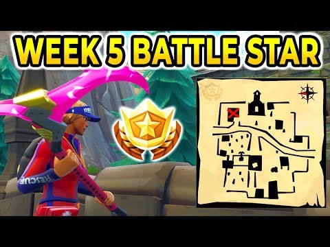 """""""Follow the Treasure Map Found in Snobby Shores"""" Location BATTLE STAR WEEK 5 SEASON 5 FORTNITE!!!"""