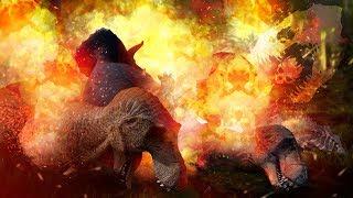 BURN THEM ALL! - Tribal Warriors Battle & Burn Dinosaur Pack Alive, New Updates! - The Isle Gameplay