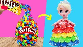 FROZEN ELSA RAINBOW PLAY DOH M&M's Candy Play Doh DIY Videos For Kids