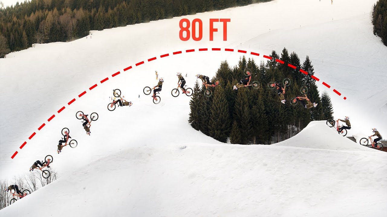 80 Ft Double Backflip On A Downhill Bike Behind The