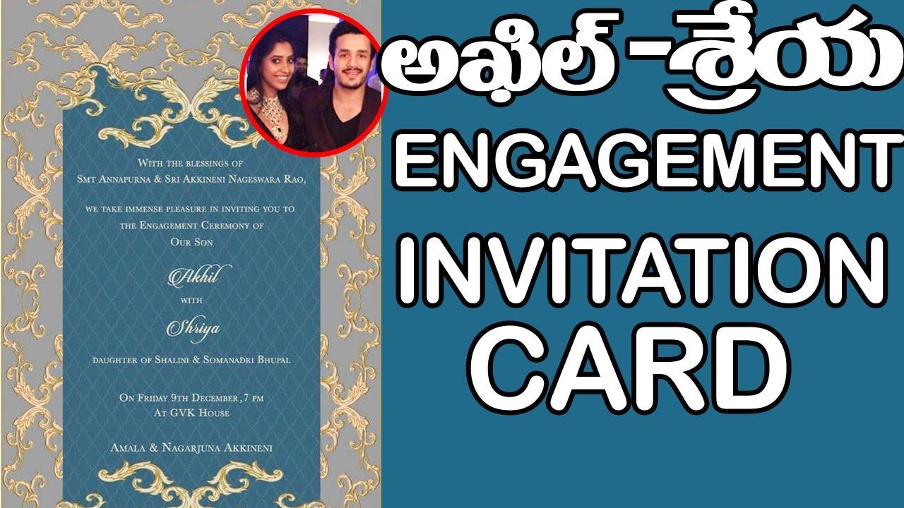 Exclusive akhil and shirya engagement invitation card akkineni exclusive akhil and shirya engagement invitation card akkineni nagarjuna top telugu tv youtube stopboris Images