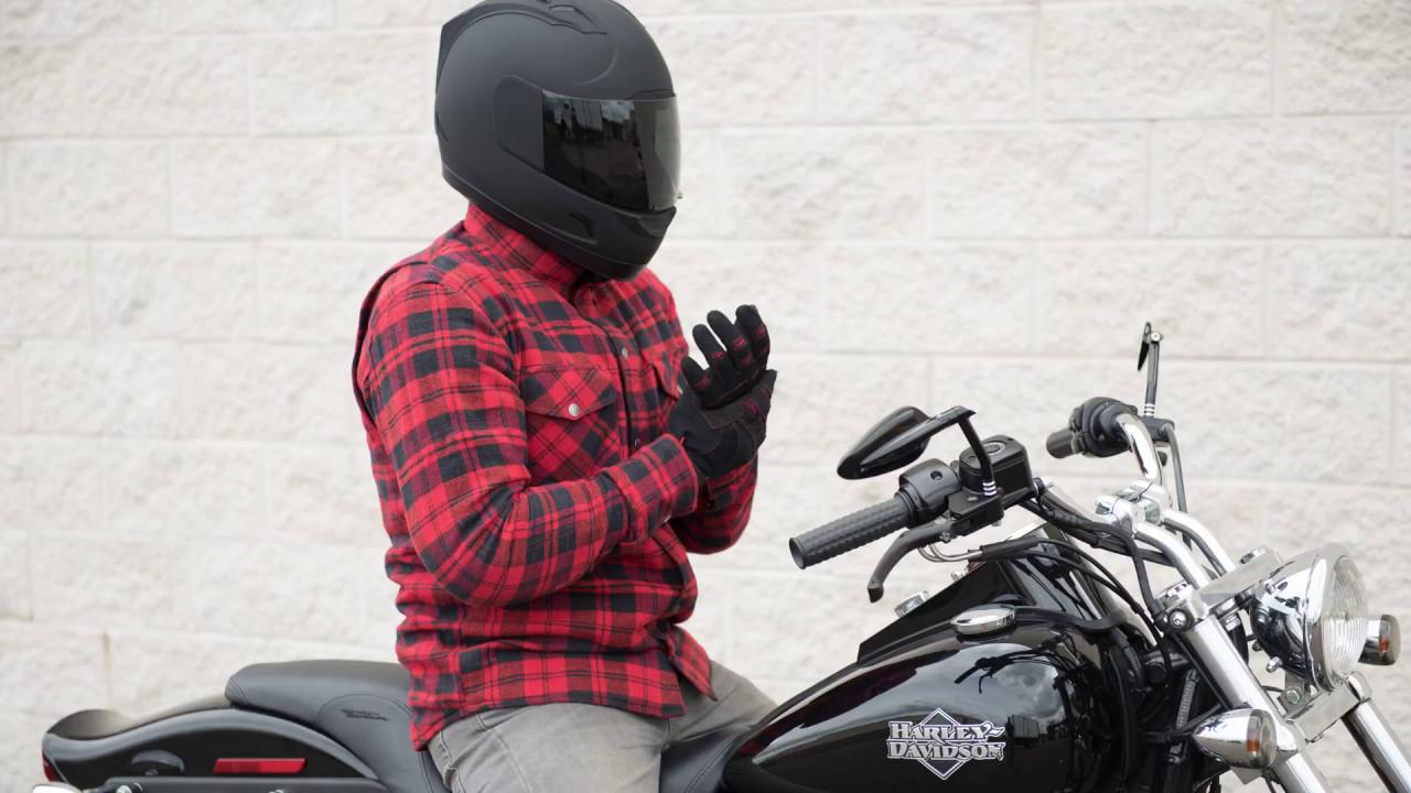 Black//Red Highway 21 Men/'s MARKSMAN Flannel Motorcycle Shirt w//Kevlar//Armor