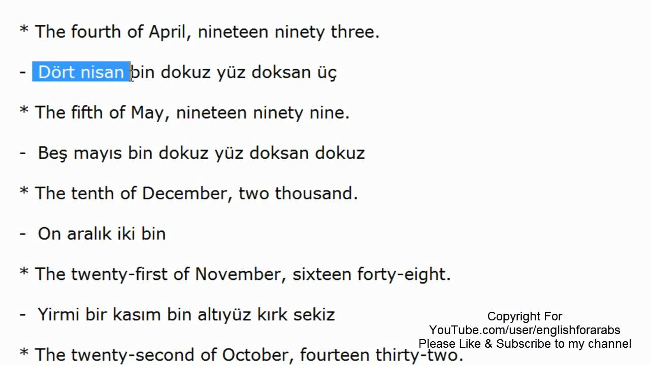 Date in Turkish language part 2 -Turkish For Beginners