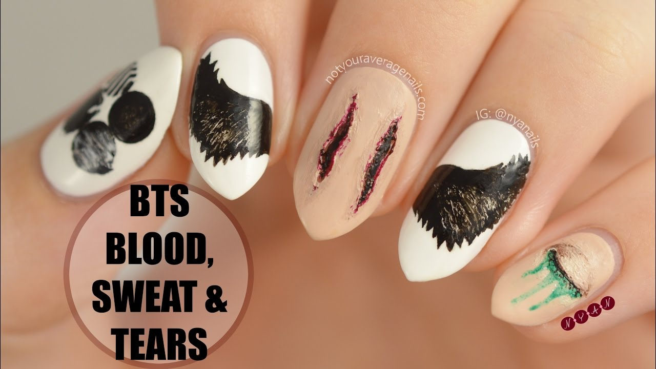 Bts blood sweat tears nail art tutorial youtube prinsesfo Choice Image
