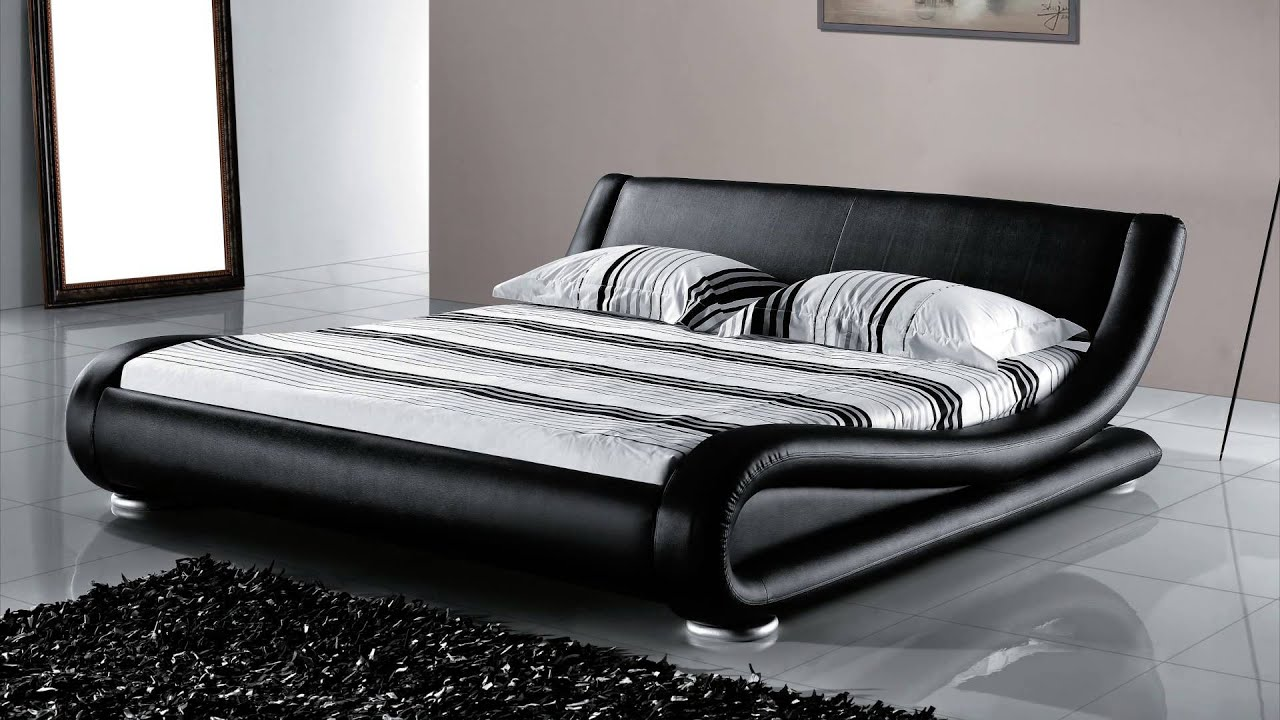 beliani leather bed double bed incl stable slatted frame bed avignon eng - Frame Bed