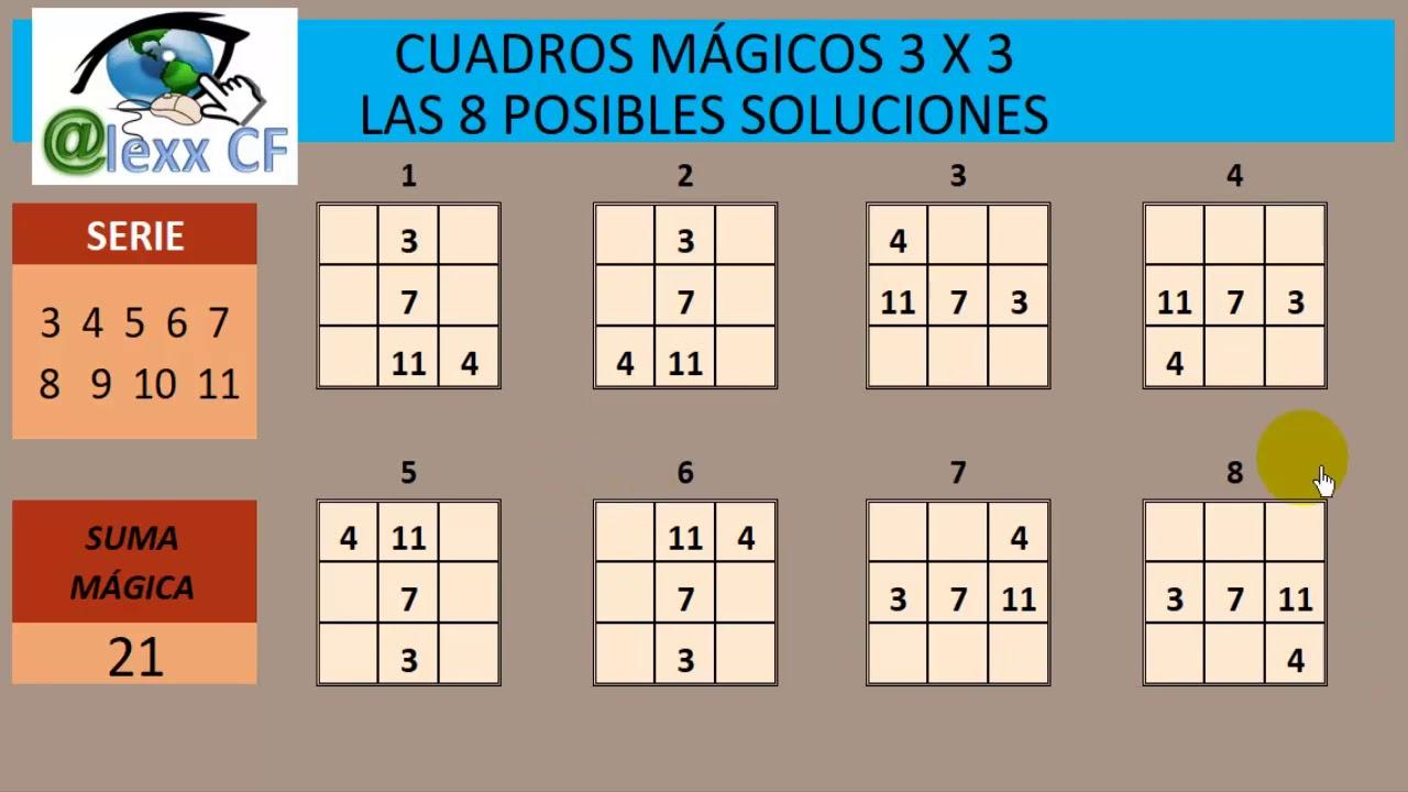 8 SOLUCIONES PARA LOS CUADROS MÁGICOS 3 X 3 - YouTube