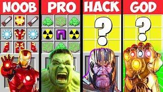 Minecraft Battle: THANOS AVENGERS ENDGAME CRAFTING CHALLENGE! NOOB vs PRO vs HACKER vs GOD Animation