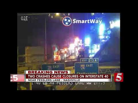 Two crashes cause closure on Interstate 40 in Nashville