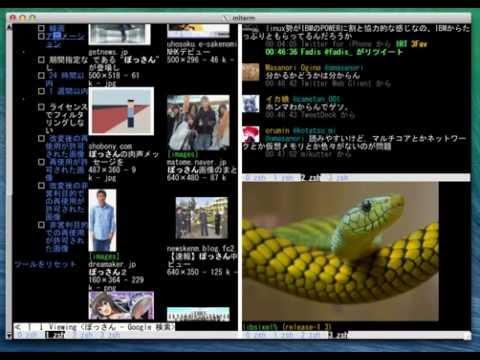 Arakiken's GNU Screen, Arakiken's w3m, sayaka-chan(over HTTP), and  FFmpeg-SIXEL