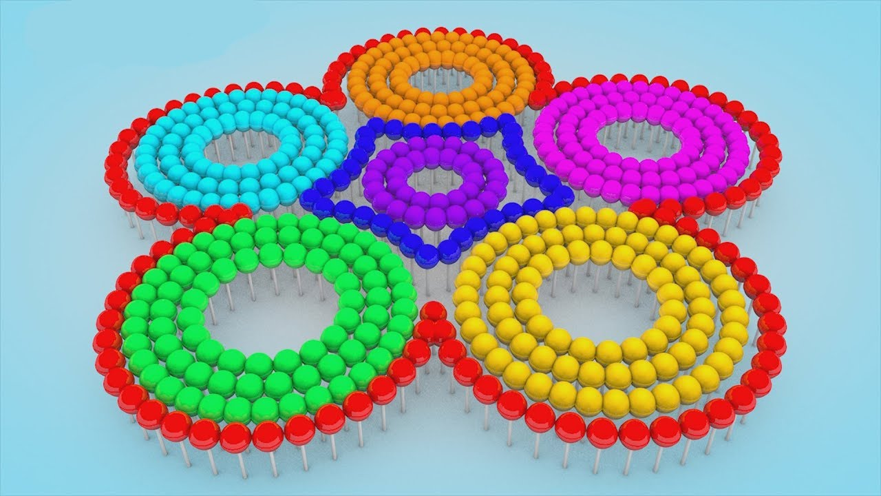 Learn Colors for Children with Forming Lot of Lollipop 3D Flower Spiral Kids Video