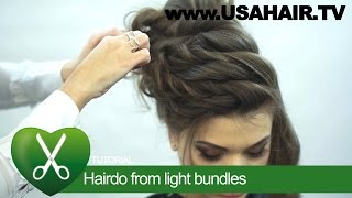 Hairdo from light bundles. parikmaxer TV USA