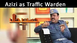 Azizi as Traffic Warden | Hasb-E-Haal | 11 Apr 2015