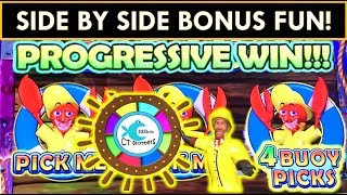 SIDE BY SIDE BONUSES ON LARRY'S LOBSTERMANIA SLOT MACHINE! FREE GAMES, SPINS, PROGRESSIVES!