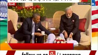 Barack Obama and Narendra Modi discuss bilateral issues over tea at Hyderabad House